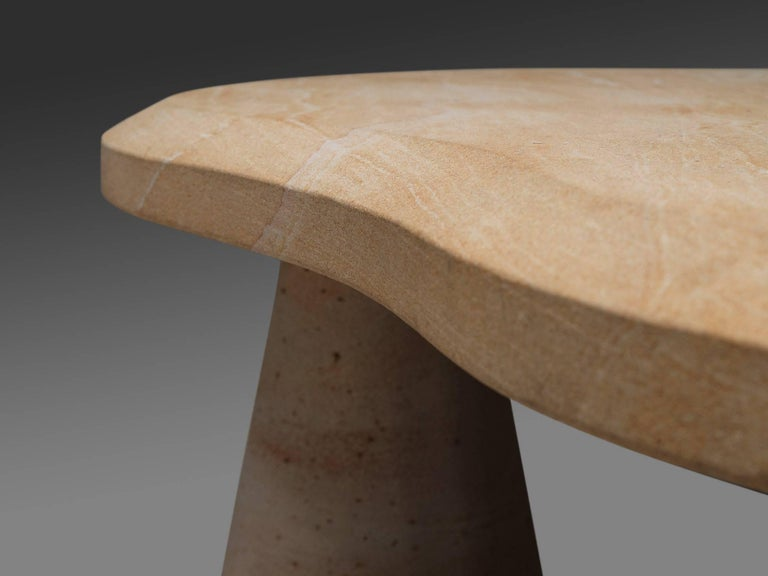 Late 20th Century Postmodern Sandstone Coffee Table For Sale