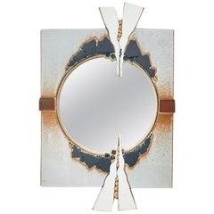 Postmodern Sculpted Ceramic Mirror, Artist Signed 1983