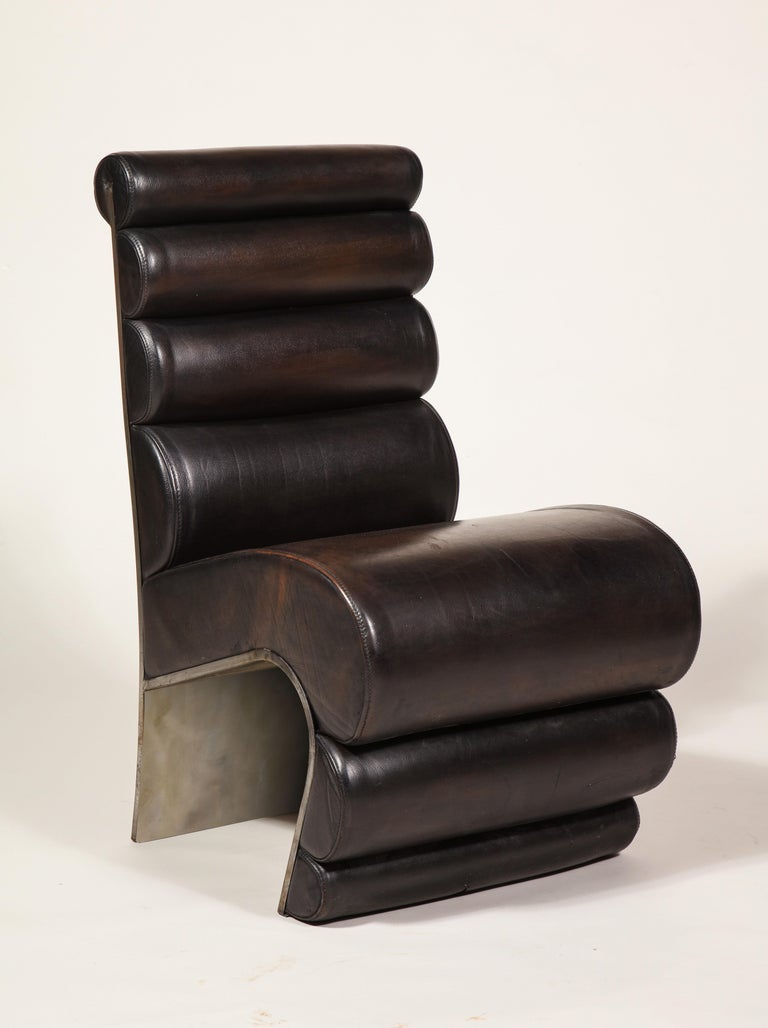 Post-Modern Postmodern Sculptural Steel Brown Leather French Pair of Chairs, 1980s, France For Sale