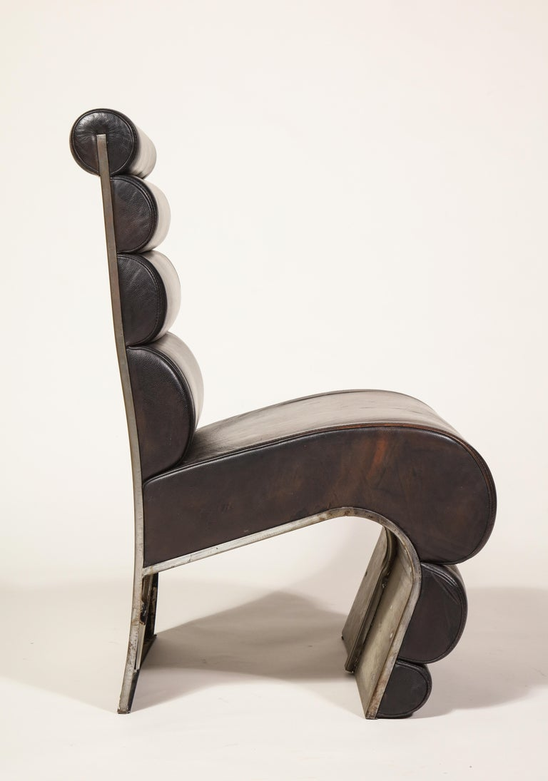 Postmodern Sculptural Steel Brown Leather French Pair of Chairs, 1980s, France In Good Condition For Sale In New York, NY