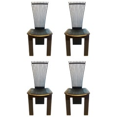 Postmodern Set of 4 Italian Fan Back Chairs by Pietro Costantini