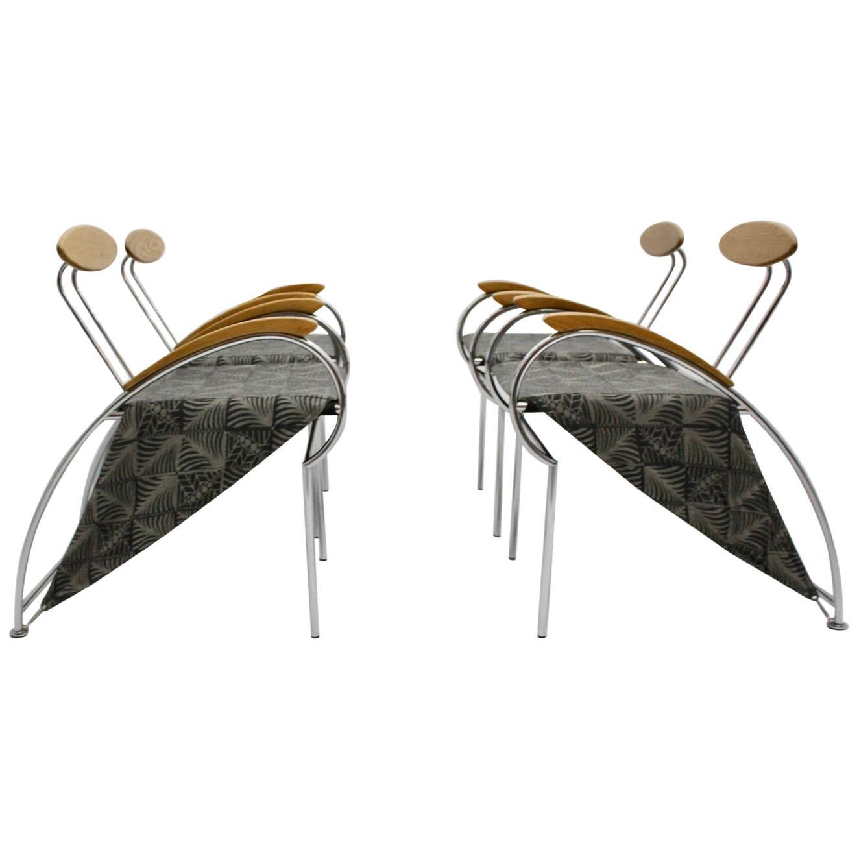 Postmodern Set of Four Vintage Dining Chair Massimo Iosa Ghini Moroso 1988 Italy