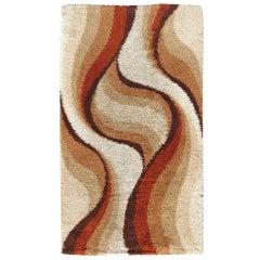 Postmodern Shag Rug with Abstract Design, circa 1970