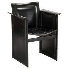 Postmodern Side Chair in Leather by Arrben, circa 1980s