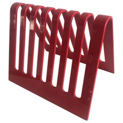 Postmodern Spectrum Red Lucite Magazine Rack or File Holder