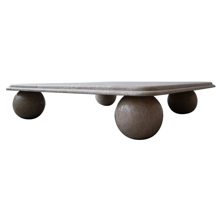 Postmodern Square Low Profile Travertine Coffee Table Round Ball Legs For Sale At 1stdibs