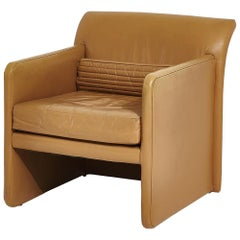 Postmodern Tan Leather Lounge Chair