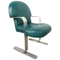 Postmodern Teal Green Leather and Aluminum Armchair