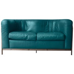 Postmodern Teal Leather Zanotta Onda Loveseat Sofa 1985, Italia Two-Seat Sofa