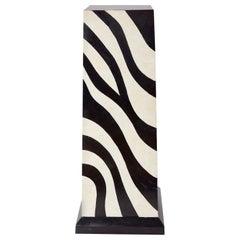 Postmodern Tessellated Stone Zebra Pattern Pedestal, 1990s