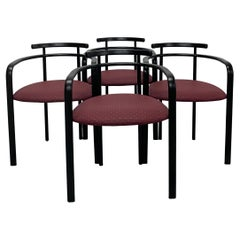 Postmodern Textured Black Lacquered Dining Chairs by Hank Loewenstein, Set of 4