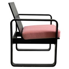 Postmodern Thonet Bentwood Lounge Chair with Pink Mohair Cushion