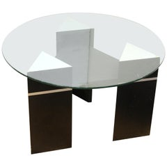 Postmodern Triangular Side Table or Coffee Table with Round Glass Top