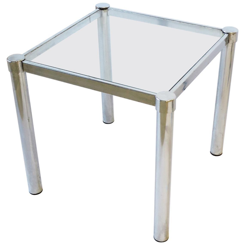 Postmodern Tubular Chrome and Glass End or Side Table, circa 1970s