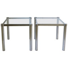 Postmodern Tubular End, Side, and Stacking Tables in Chrome and Glass, Pair