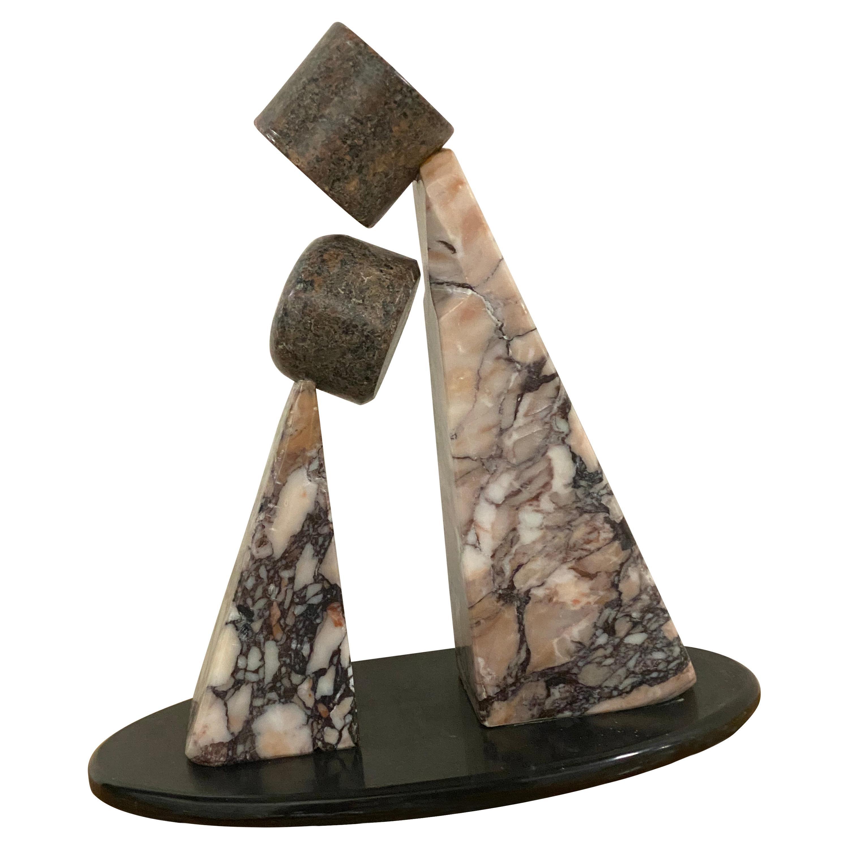 Postmodern 'Two Figures' Marble Sculpture