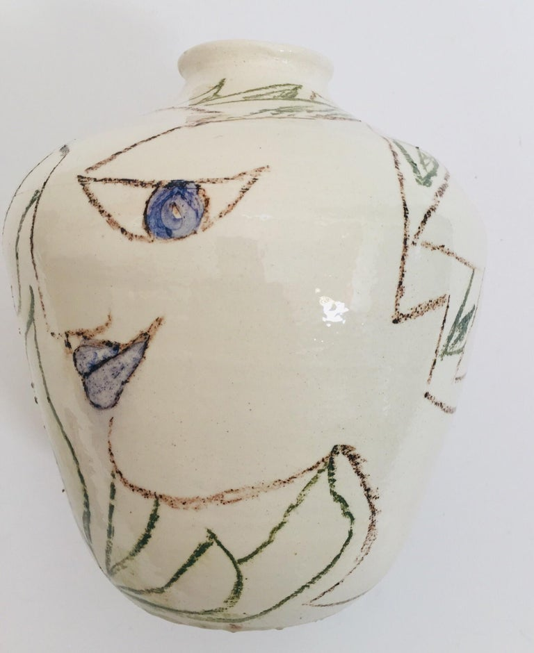 Postmodern Vase with Abstract Head Portraits Figures in Jean Cocteau Style For Sale 3