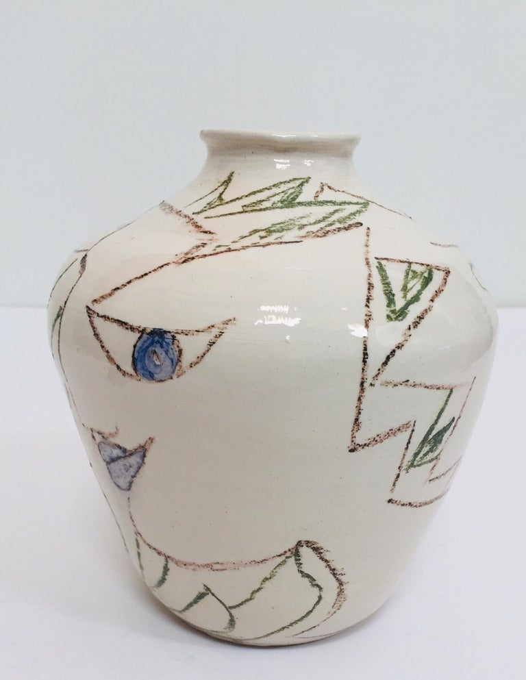 Post-Modern Postmodern Vase with Abstract Head Portraits Figures in Jean Cocteau Style For Sale