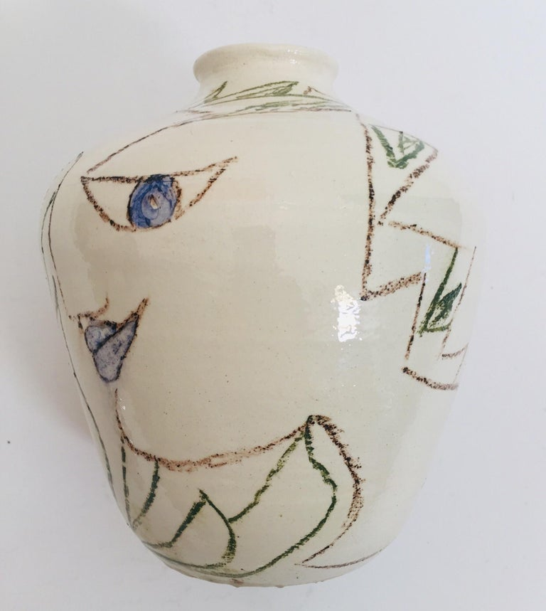 French Postmodern Vase with Abstract Head Portraits Figures in Jean Cocteau Style For Sale
