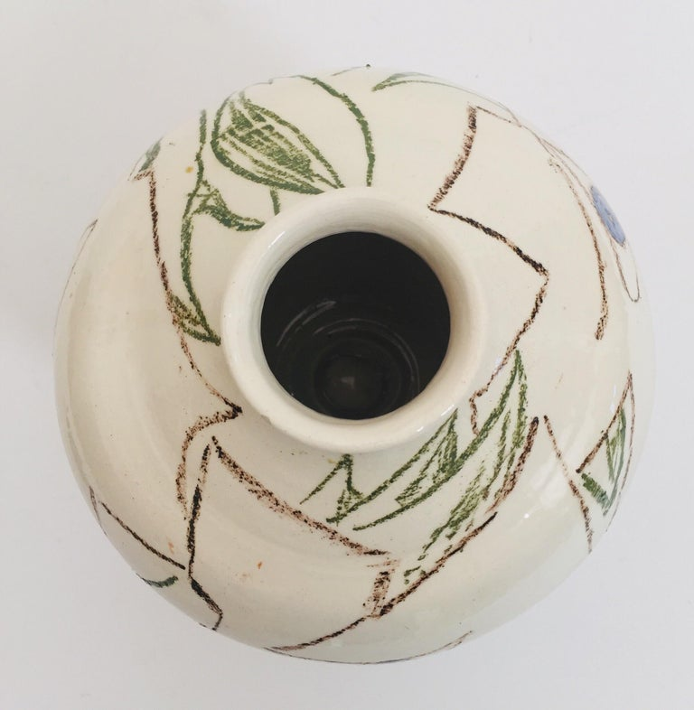 Hand-Painted Postmodern Vase with Abstract Head Portraits Figures in Jean Cocteau Style For Sale