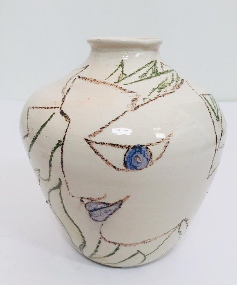 Postmodern Vase with Abstract Head Portraits Figures in Jean Cocteau Style In Good Condition For Sale In Los Angeles, CA