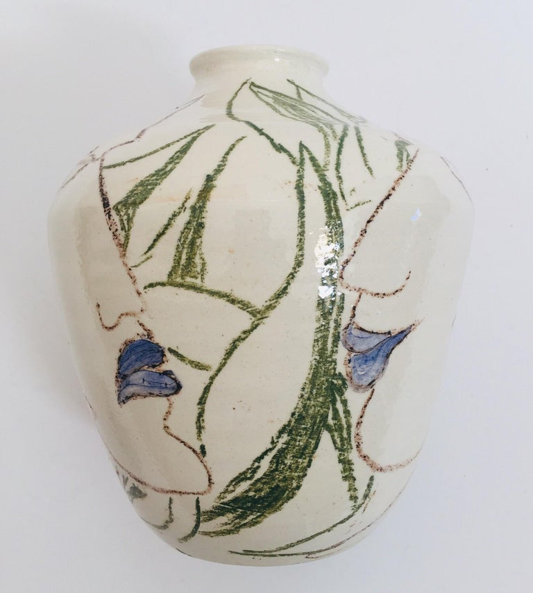 Ceramic Postmodern Vase with Abstract Head Portraits Figures in Jean Cocteau Style For Sale
