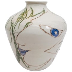 Postmodern Vase with Abstract Head Portraits Figures in Jean Cocteau Style