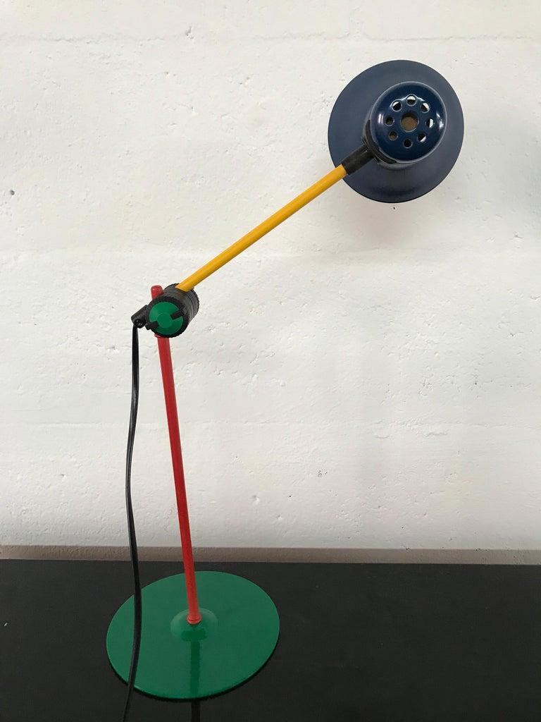 Painted Postmodern Veneta Lumi Desk Task Table Lamp, Italy, 1994 For Sale