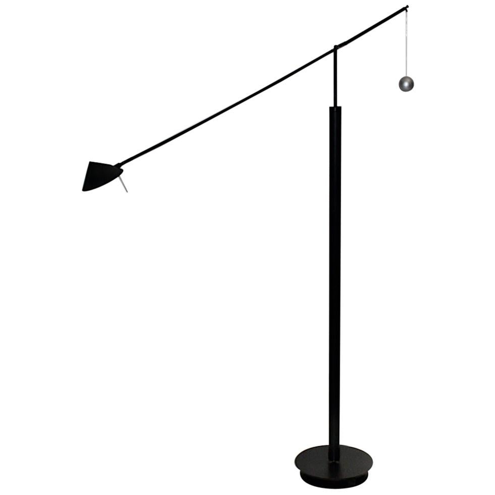 Postmodern Vintage Black Floor Lamp by Carlo Forcolini 1989 for Artemide Italy