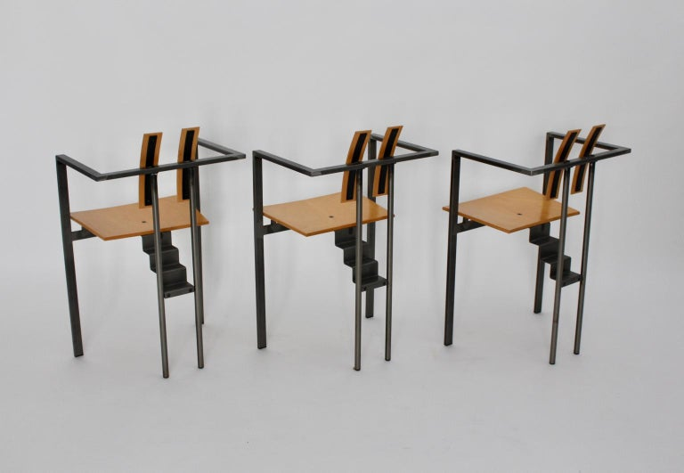 Postmodern Vintage Metal Beech Dining Chairs Set of Six, circa 1990, Italy For Sale 4