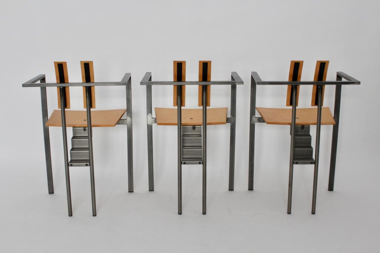 Postmodern Vintage Metal Beech Dining Chairs Set of Six, circa 1990, Italy For Sale 5