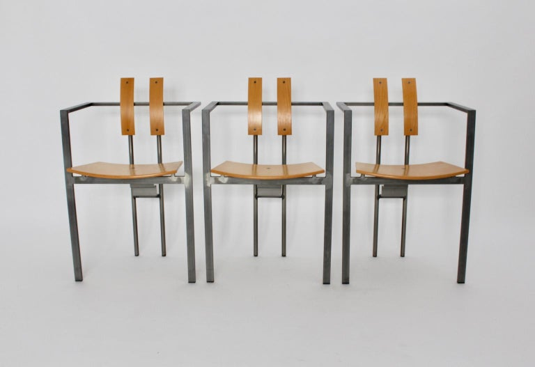 Postmodern Vintage Metal Beech Dining Chairs Set of Six, circa 1990, Italy For Sale 6