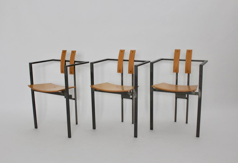 Postmodern Vintage Metal Beech Dining Chairs Set of Six, circa 1990, Italy For Sale 7