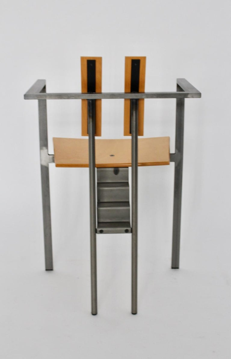 Postmodern Vintage Metal Beech Dining Chairs Set of Six, circa 1990, Italy For Sale 8