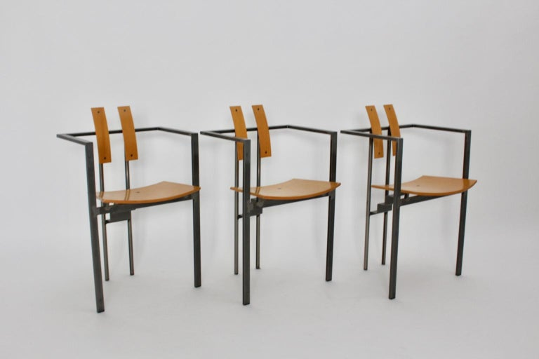 Postmodern Vintage Metal Beech Dining Chairs Set of Six, circa 1990, Italy For Sale 9
