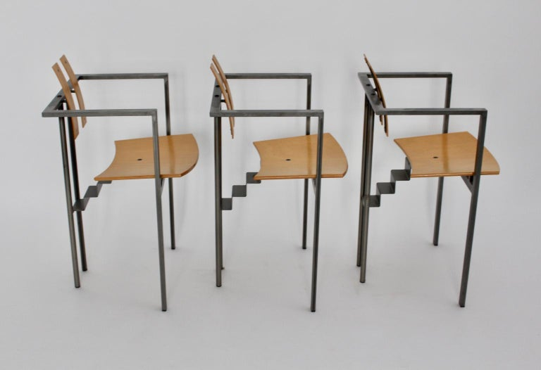 Postmodern Vintage Metal Beech Dining Chairs Set of Six, circa 1990, Italy For Sale 10