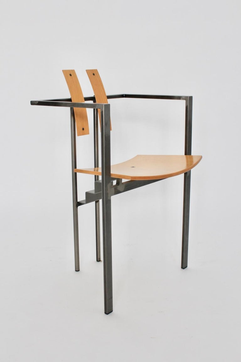 Postmodern Vintage Metal Beech Dining Chairs Set of Six, circa 1990, Italy For Sale 11