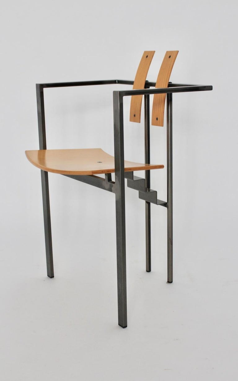 Postmodern Vintage Metal Beech Dining Chairs Set of Six, circa 1990, Italy For Sale 12