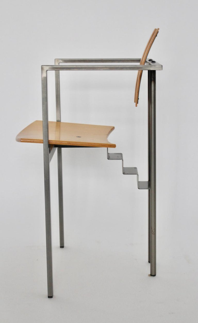 Postmodern Vintage Metal Beech Dining Chairs Set of Six, circa 1990, Italy For Sale 14