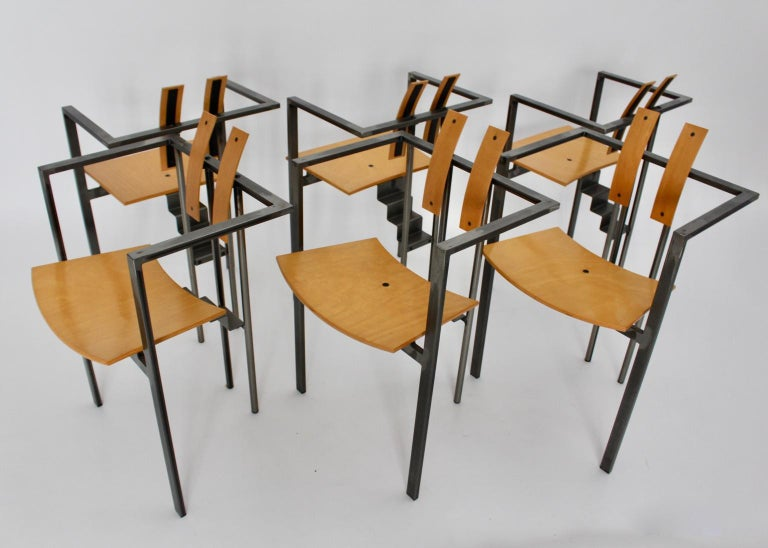Post-Modern Postmodern Vintage Metal Beech Dining Chairs Set of Six, circa 1990, Italy For Sale