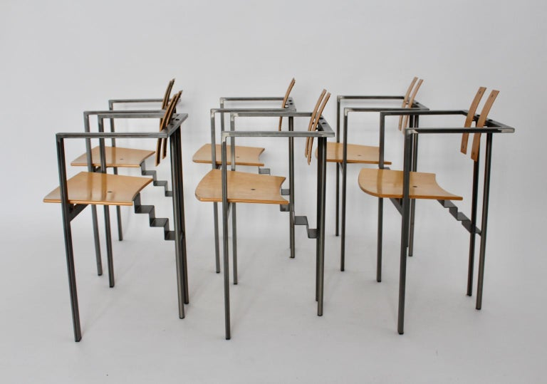 Italian Postmodern Vintage Metal Beech Dining Chairs Set of Six, circa 1990, Italy For Sale