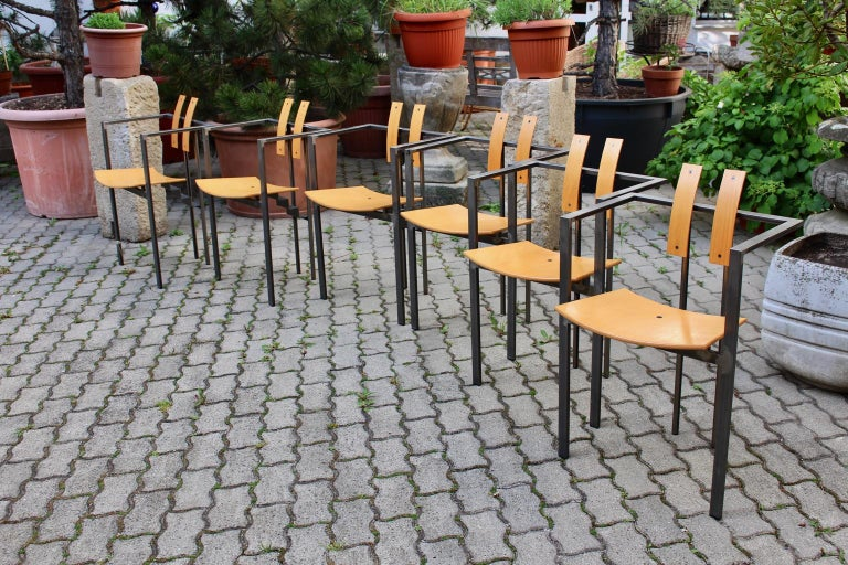 20th Century Postmodern Vintage Metal Beech Dining Chairs Set of Six, circa 1990, Italy For Sale