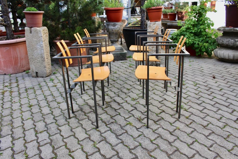 Postmodern Vintage Metal Beech Dining Chairs Set of Six, circa 1990, Italy For Sale 1