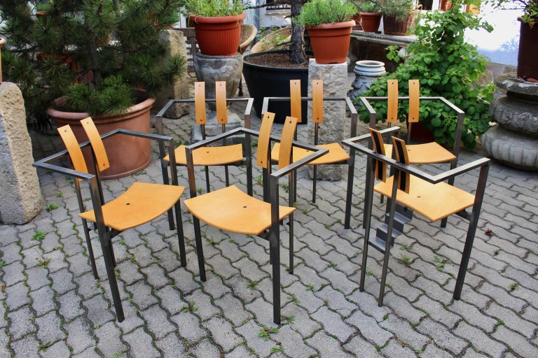 Postmodern Vintage Metal Beech Dining Chairs Set of Six, circa 1990, Italy For Sale 2