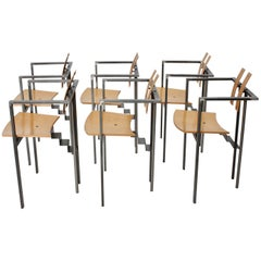 Postmodern Vintage Metal Beech Dining Chairs Set of Six, circa 1980, Italy