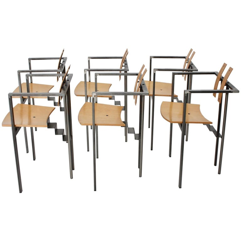Postmodern Vintage Metal Beech Dining Chairs Set of Six, circa 1990, Italy For Sale