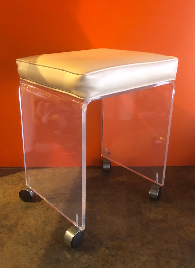 Post-Modern Postmodern Waterfall Lucite Vanity Stool or Bench by Akko For Sale