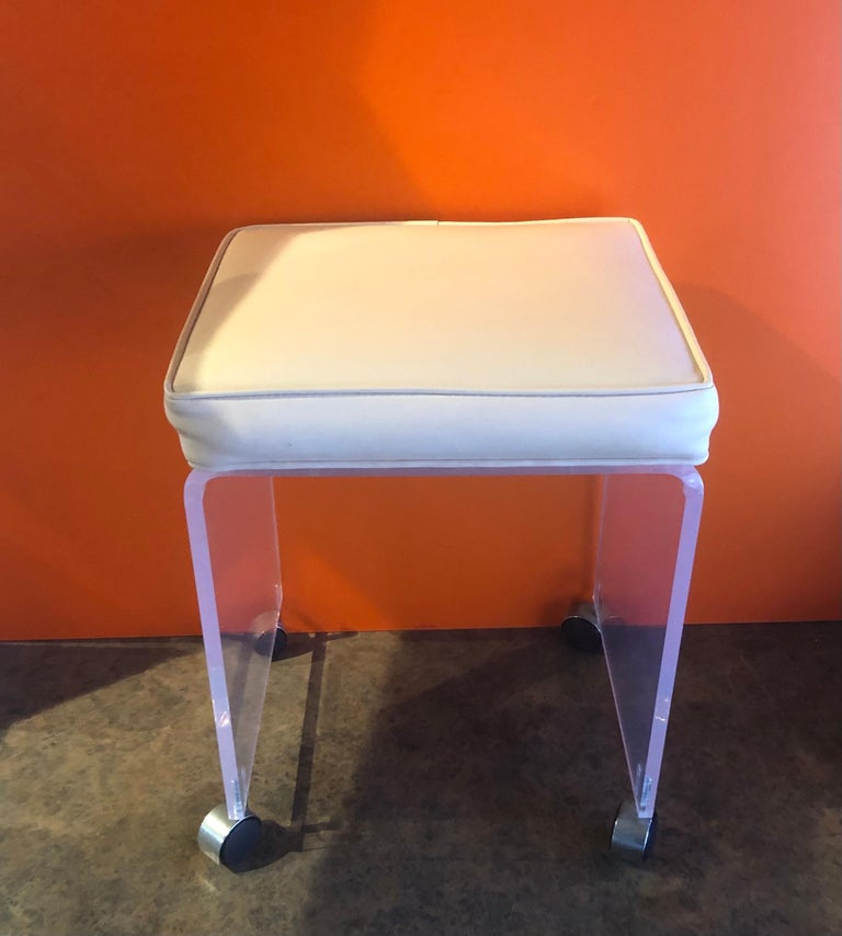 American Postmodern Waterfall Lucite Vanity Stool or Bench by Akko For Sale