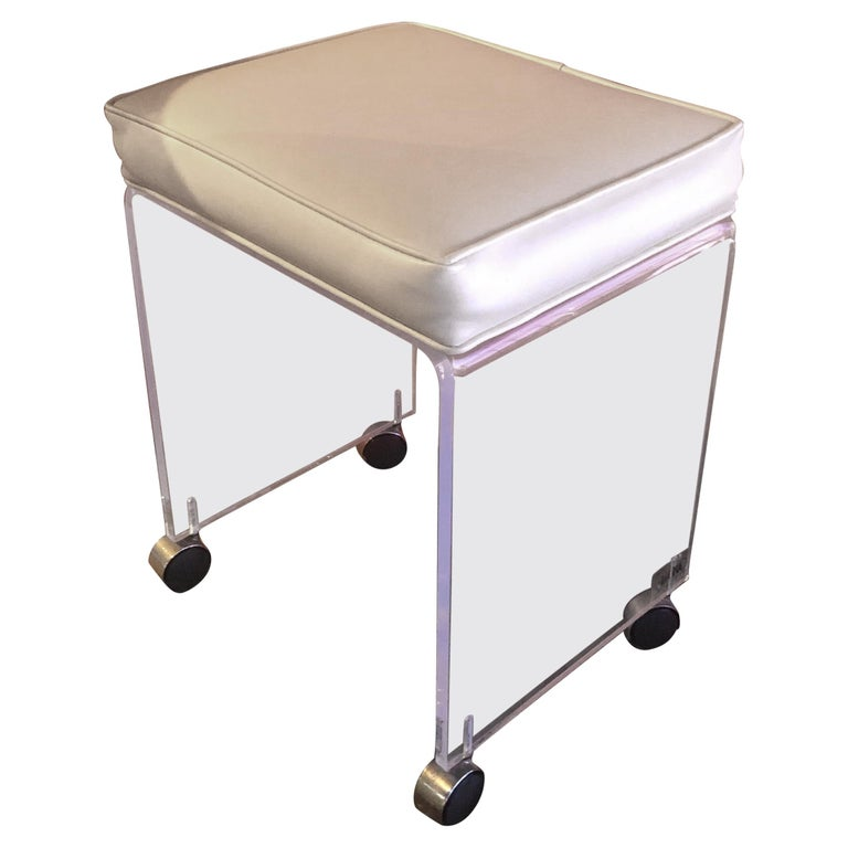 Postmodern Waterfall Lucite Vanity Stool or Bench by Akko For Sale