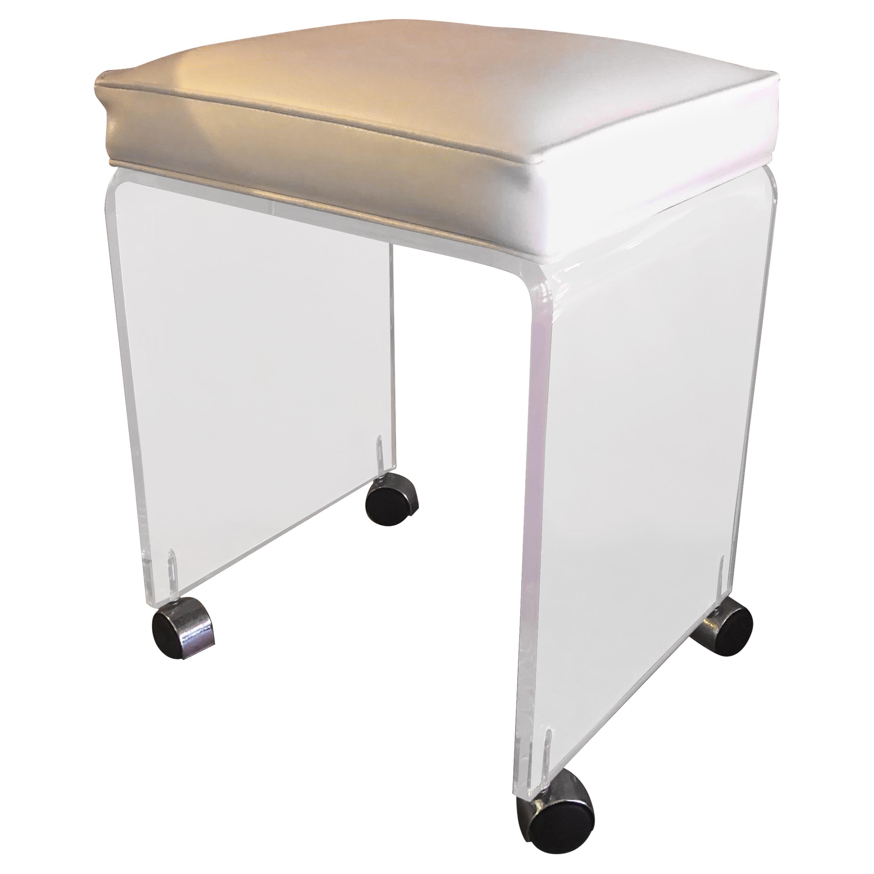 Postmodern Waterfall Lucite Vanity Stool or Bench with White Seat by Akko